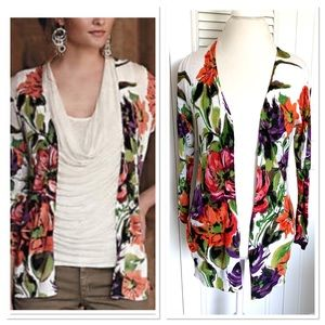 Anthropologie Guinevere Floral Open Cardigan